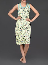 Martini Glass Printed Round Neck Cotton Dress - Nuteez