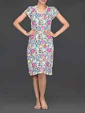 Short Sleeves Round Neck Floral Print Cotton Dress - Nuteez