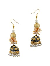 Blue Metal Alloy, Pearl Beads Balli Earring - By
