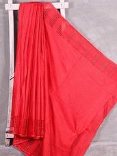 Red Handwoven Bhagalpuri Silk Saree - Komal Sarees