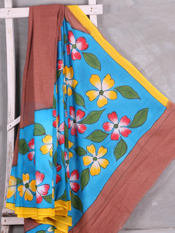 Multicolor Floral With Leaf Printed Saree - Komal Sarees