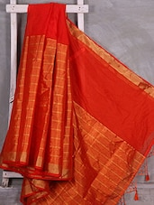 Striped Orange Art Silk Saree - Komal Sarees