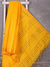 Yellow Woven Check Saree - Komal Sarees