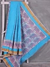 Elephant Printed Blue Cotton Saree - Komal Sarees