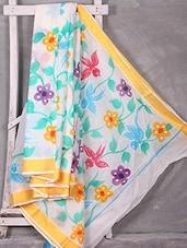 Graphic Floral With Bird Printed Saree - Komal Sarees