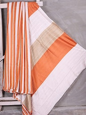 Striped Handwoven Pure Bhagalpuri Gheecha Silk Saree - Komal Sarees