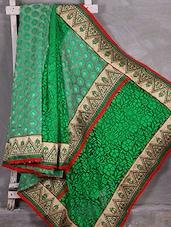 Green Bordered Woven Brasso Saree - Komal Sarees