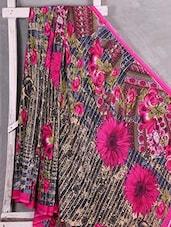 Floral With Musical Notes Printed Saree - Komal Sarees