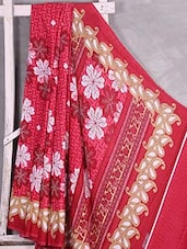 Floral Printed Paisley Border Saree - Komal Sarees