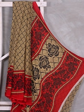 Rose Printed Border & Pallu Saree - Komal Sarees