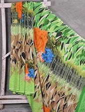 Floral & Abstract Print Crepe Saree - Komal Sarees