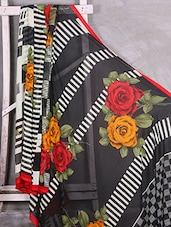 Red & Yellow Rose Print Chiffon Saree - Komal Sarees