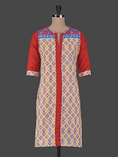 Geometric Print Quarter Sleeves Cotton Kurta - Aamii