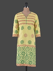 Quarter Sleeves Block Printed Cotton Kurta - Aamii