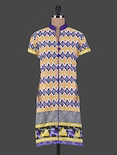 Short Sleeves Geometric Print Cotton Kurta - Aamii