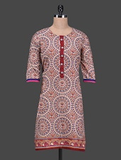 Quarter Sleeve Geometric Printed Kurta - SHREE