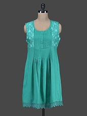 Sea Green Rayon Kurti With Attachable Sleeves - Paislei