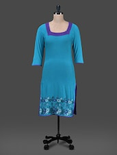 Teal Floral Embroidered Viscose Knit Kurta - Paislei