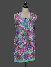 Pink Paisley Printed Cotton Kurta With Attachable Sleeves - Paislei