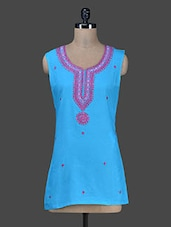 Turquoise Short Embroidered Kurta With Attachable Sleeves - Paislei
