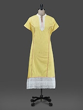 Yellow Printed Long Cotton Kurta - Paislei