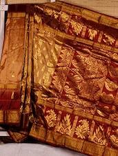 Beige Paisley Patterned Kanchipuram Saree - Dharitri's Choice