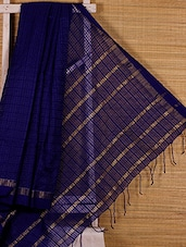 Royal Blue Cotton Silk Handloom Saree - Dharitri's Choice