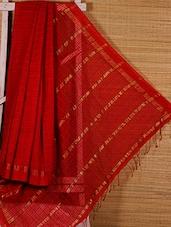 Red Cotton Silk Handloom Saree - Dharitri's Choice