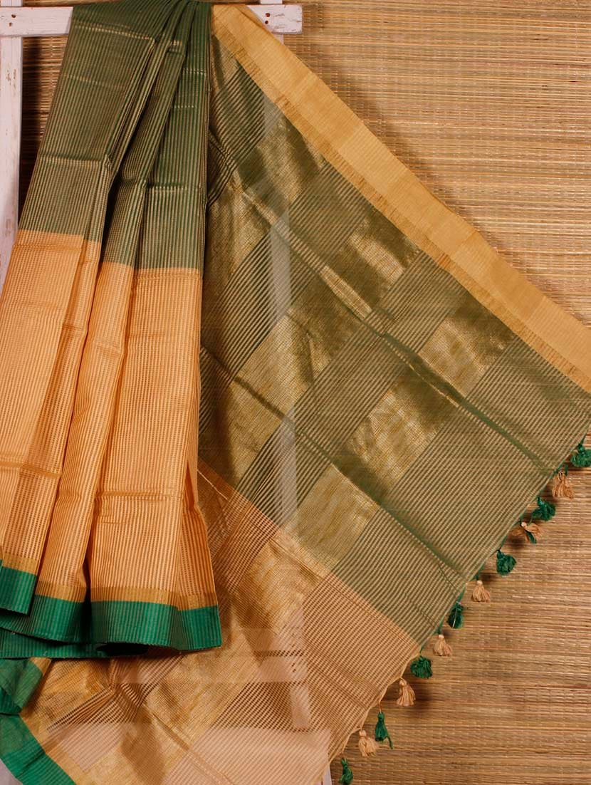 Green And Beige Striped Handloom Saree - Dharitri's Choice