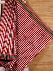 Red And White Chequered Handloom Saree - Dharitri's Choice