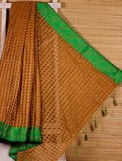 Beige Chequered Cotton Silk Handloom Saree - Dharitri's Choice