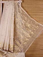 White Floral Cotton Silk Saree - Dharitri's Choice