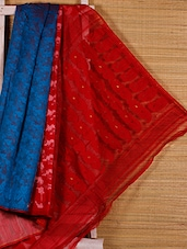 Turquoise And Red Cotton Silk Saree - Dharitri's Choice
