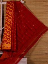 Yellow And Red Patterned Cotton Silk Saree - Dharitri's Choice