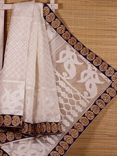 White Patterned Cotton Silk Saree - Dharitri's Choice