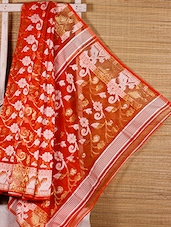 Orange Floral Patterned Cotton Silk Saree - Dharitri's Choice