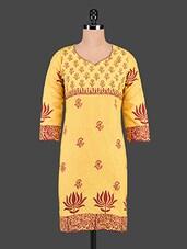 Yellow Floral Print Cotton Kurti - Tanvi