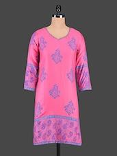 Pink Paisley Printed Cotton Kurti - Tanvi