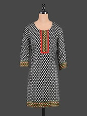 Black Printed Round Neck Cotton Kurti - Tanvi