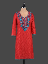 Red Embroidered Jacquard Cotton Kurti - Tanvi