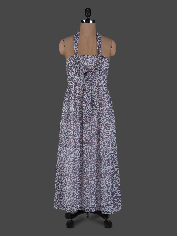 Floral Print Halter Neck Georgette Dress - Meee!