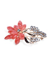 Pink Stone And Crystal Studded Brooch - By