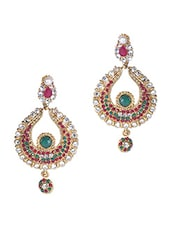 Stone And Crystal Studded Earrings - Sindoora