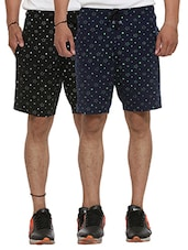 set of 2 black and blue printed cotton shorts -  online shopping for Shorts
