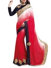 Pink Satin Saree With Khatli Work - Shonaya