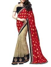 Red And Cream Jacquard Net Saree - Shonaya