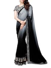 Black Embroidered Satin Saree - Shonaya