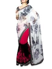 White Embroidered Georgette Saree - Shonaya