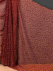 Leaf Printed Sheer Art Silk Saree - Nanda Silk Mills