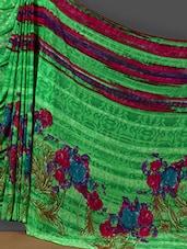 Floral Print Pallu Green Art Silk Saree - Nanda Silk Mills